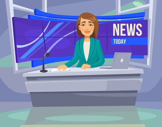 Anchorwoman-personage op tv. belangrijk nieuws.