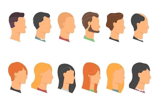 Ander menselijk gezicht, mannelijke en vrouwelijke hoofden met verschillende kapsels.