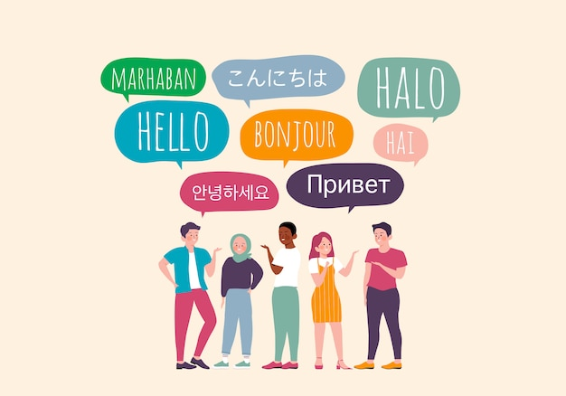 Andere taal toespraak bubble hallo concept. hallo in verschillende talen. diverse culturen, internationale communicatie. native speakers, vriendelijke man en vrouw stripfiguren illustratie