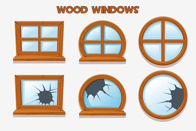 Andere vorm en oude verbrijzelde houten ramen, cartoon bouwobjecten. element home interiors