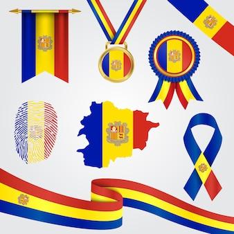 Andorra-vlag in verschillende vormen met kaart en wimpel & medaille & lint & vingerafdruk