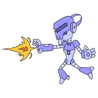 Android menselijke robotaanval die een vuurbalschop uitgeeft, vectorillustratieart. doodle pictogram afbeelding kawaii.