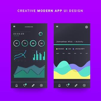 Android mobiele app ui, ios mobiele dashboard ui-elementen