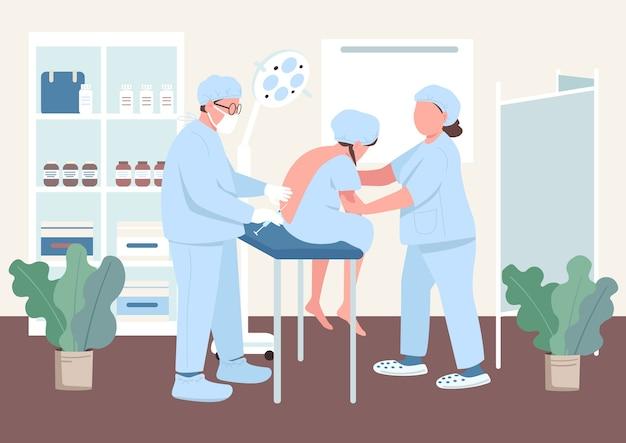 Anesthesie in egale kleur van de wervelkolom. injectie in de wervelkolom van de vrouw. moeder bereidt zich voor op de bevalling. pijn loslaten. arts en patiënt 2d stripfiguren met kliniek interieur op achtergrond