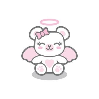 Angel bear mascotte logo ontwerp