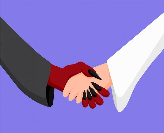 Angel en demon handdruk. deal tussen vijanden samenwerking tussen goed en kwaad.