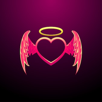 Angel heart flying heart met engel vleugels vector afbeelding
