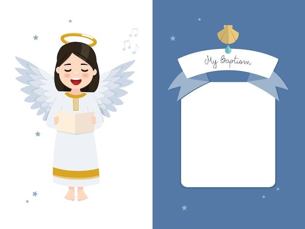 Angel zingen. doopsel horizontale uitnodiging op blauwe hemel en sterren uitnodiging.
