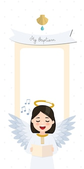 Angel zingen. doopsel verticale uitnodiging met bericht. vlakke afbeelding