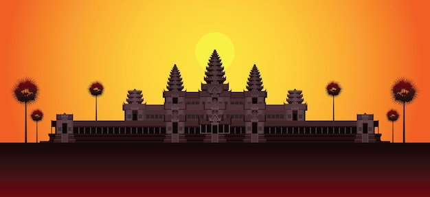 Angkor wat in sunrise cambodja oriëntatiepunt