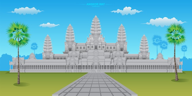 Angkor wat is een van 's werelds erfgoedlocaties in cambodja, het is de grootste hindoetempel ter wereld.