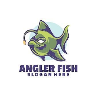 Angler fish-logo op zoek naar prooi
