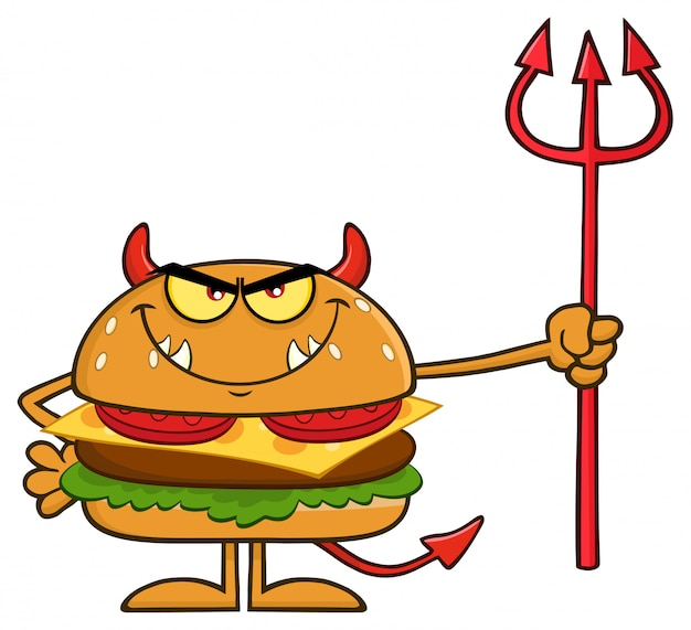 Angry devil burger cartoon character holding een trident.