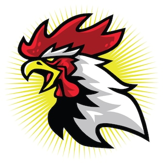 Angry fierce rooster fighting sports mascot logo premium design vector