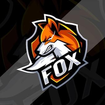 Angry fox mascotte logo sjablonen