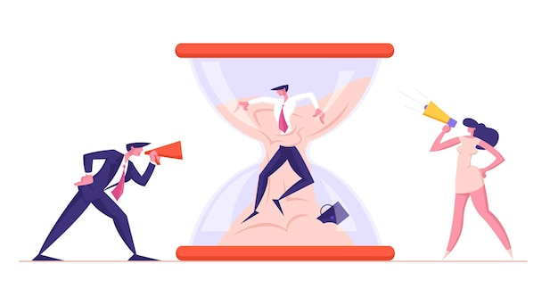 Angry furious man en lady boss-personages schreeuwen naar megafoon op kantoormedewerker