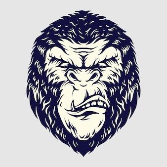 Angry gorilla head illustraties