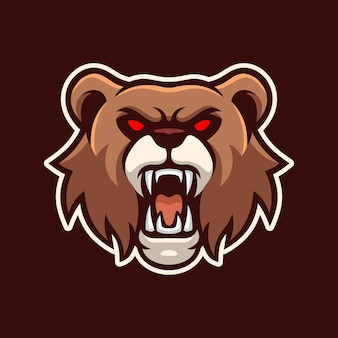 Angry grizzly bear mascot e-sports logo character