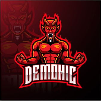 Angry red devil mascot logo