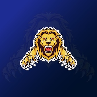Angry roar lion mascotte voor esport gaming-logo