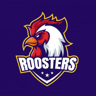 Angry rooster mascot logo