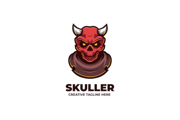 Angry skull demon mascot karakter logo