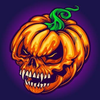 Angry skull jack o lantern pompoenen gesneden vectorillustraties Premium Vector