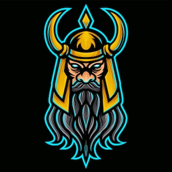 Angry vikings with gold helmet logo