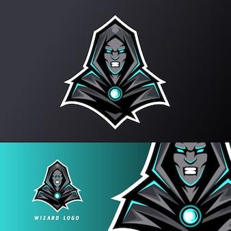 Angry wizard sport esport logo sjabloon zwart uniform in blauwe gloed