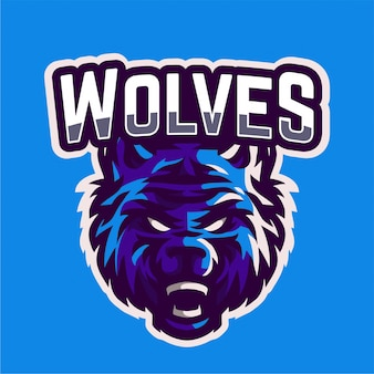 Angry wolven mascotte gaming-logo