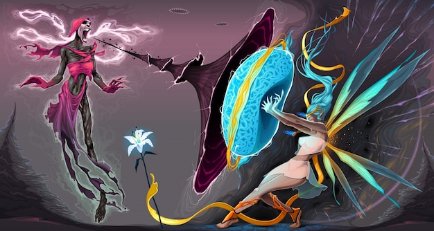 Angst en moedstrijd in de astrale rijken vector fantasy illustratie