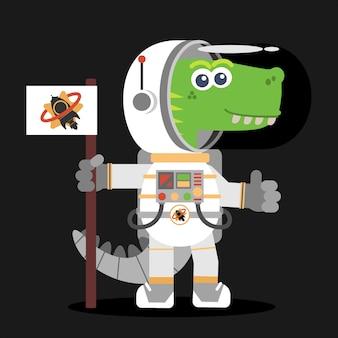 Angstaanjagende dinosaurusastronaut in de ruimte. cartoon stijl. illustratie. platte ontwerpstijl.