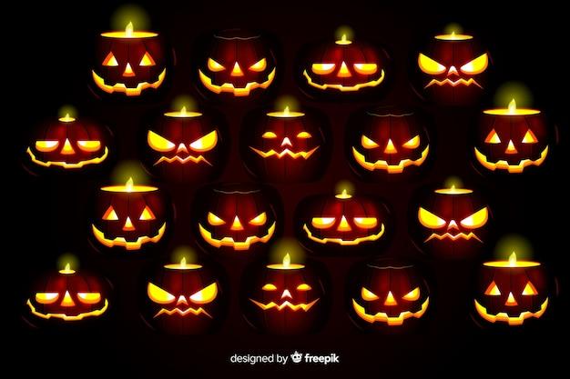 Angstaanjagende pompoenen realistische halloween-achtergrond