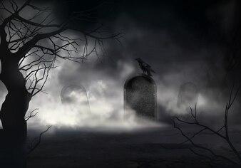 Angstaanjagende realistische achtergrond van Halloween