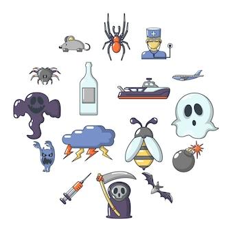 Angsten fobieën pictogrammen instellen, cartoon stijl