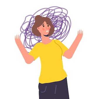 Angstig, depressie. geestelijke gezondheid, angst, zelfbedrog concept. platte vectorillustratie