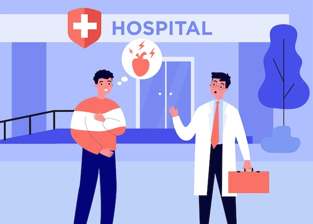 Angstige patiënt naar het ziekenhuis met pijn in het hart. arts, ziekte, gezondheid platte vectorillustratie