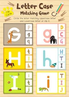 Animal clip-kaarten die overeenkomen met het spel van letter case