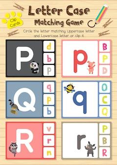 Animal clip-kaarten die overeenkomen met het spel van letter case Premium Vector