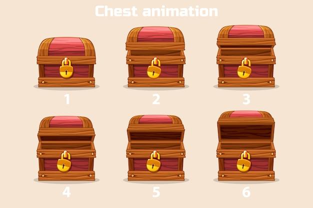 Animatie stap voor stap open en gesloten houten kist