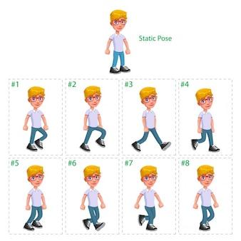 Animatie van de jongen lopen acht rollators 1 statische houding vector geïsoleerde cartoon characterframes