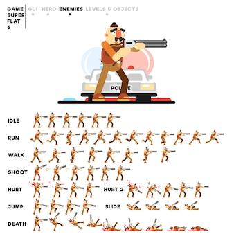 Animatie van een criminele man met een jachtgeweer voor het maken van een videogame