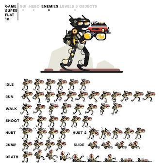 Animatie van een cyborg met een minigun voor het maken van een videogame