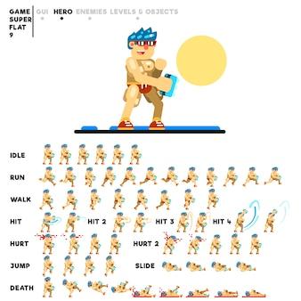 Animatie van een man met boksbeugels voor het maken van een videogame