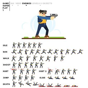 Animatie van een man voor het maken van een videogame