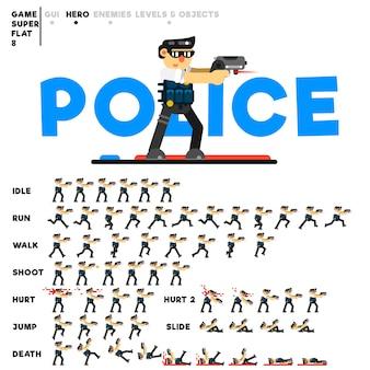 Animatie van een politieagent met een pistool voor het maken van een videogame