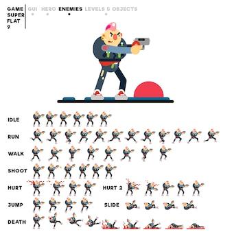 Animatie van een punk met een pistool voor het maken van een videogame