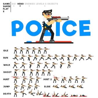 Animatie van politieman met een jachtgeweer voor het maken van een videogame
