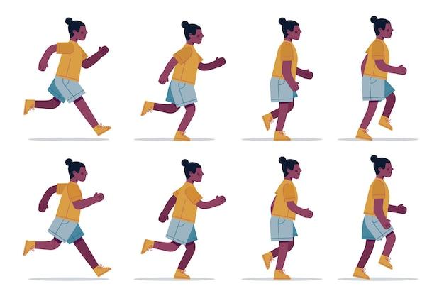 Animatieframes met platte karakters