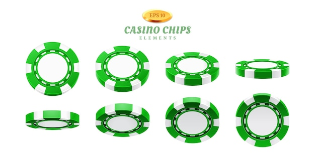 Animatiesprites voor realistische casinofiches of frames voor het gokken van lege tokens omdraaien, bewegingscycli voor lege plastic fiches.